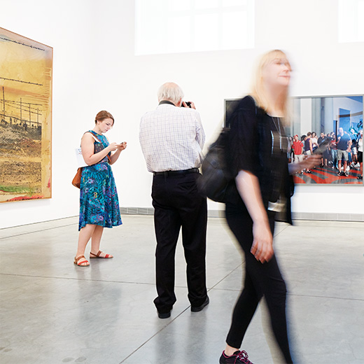 Visitors exploring the galleries