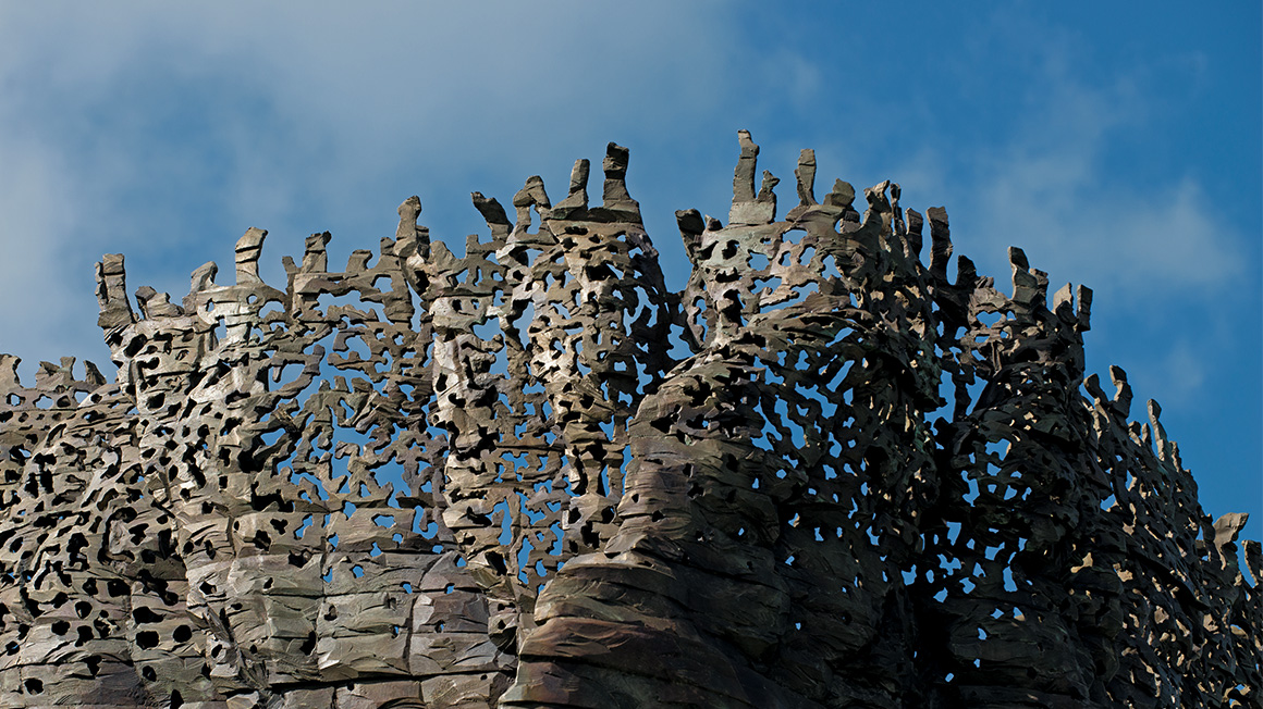 Bronze Bowl with Lace (detail), 2013–14 (cast 2017–18), by Ursula von Rydingsvard (American, born Germany 1942). Courtesy of the artist and Galerie Lelong & Co. © Ursula von Rydingsvard. Photograph by Jonty Wilde