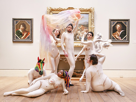 Group of dance performers in the galleries