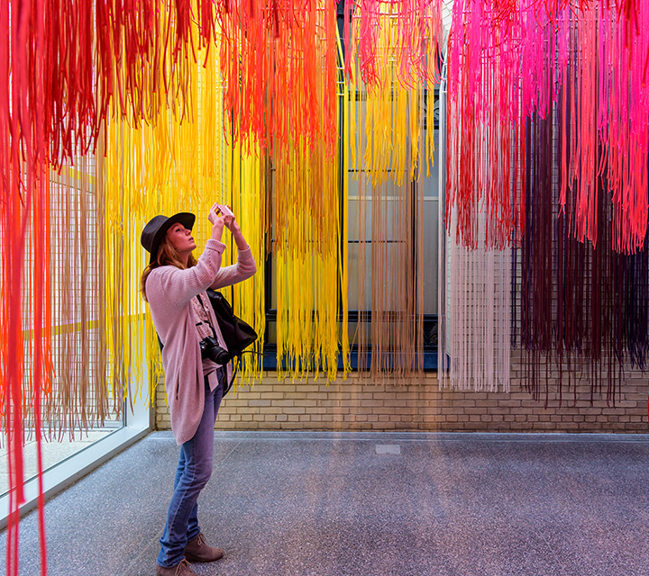 Visitor taking a picture of an art installation