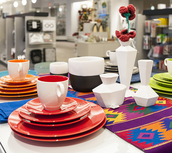 Plates and cups for sale at the museum store