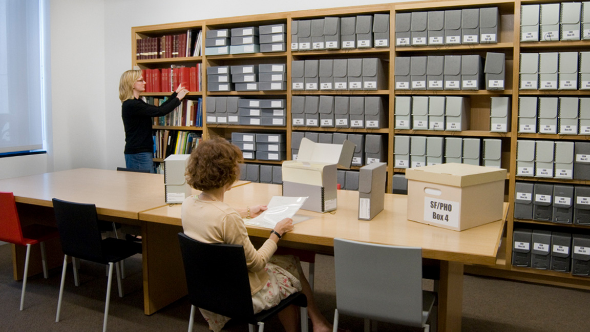 Researchers in the museum archives
