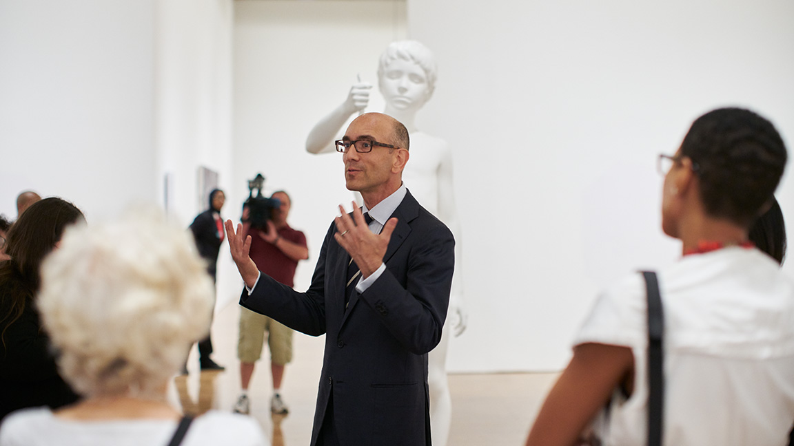 Curator giving a talk in the galleries
