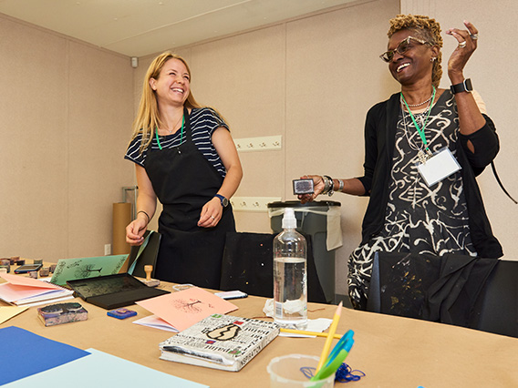 Teachers participating in a workshop activity