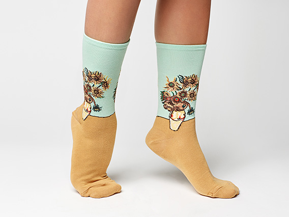 Van Gogh sunflower socks from the museum store