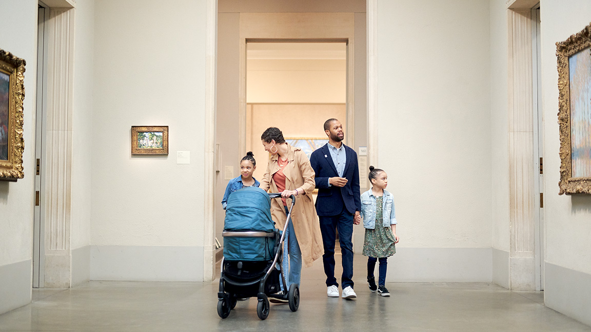 Family exploring the galleries