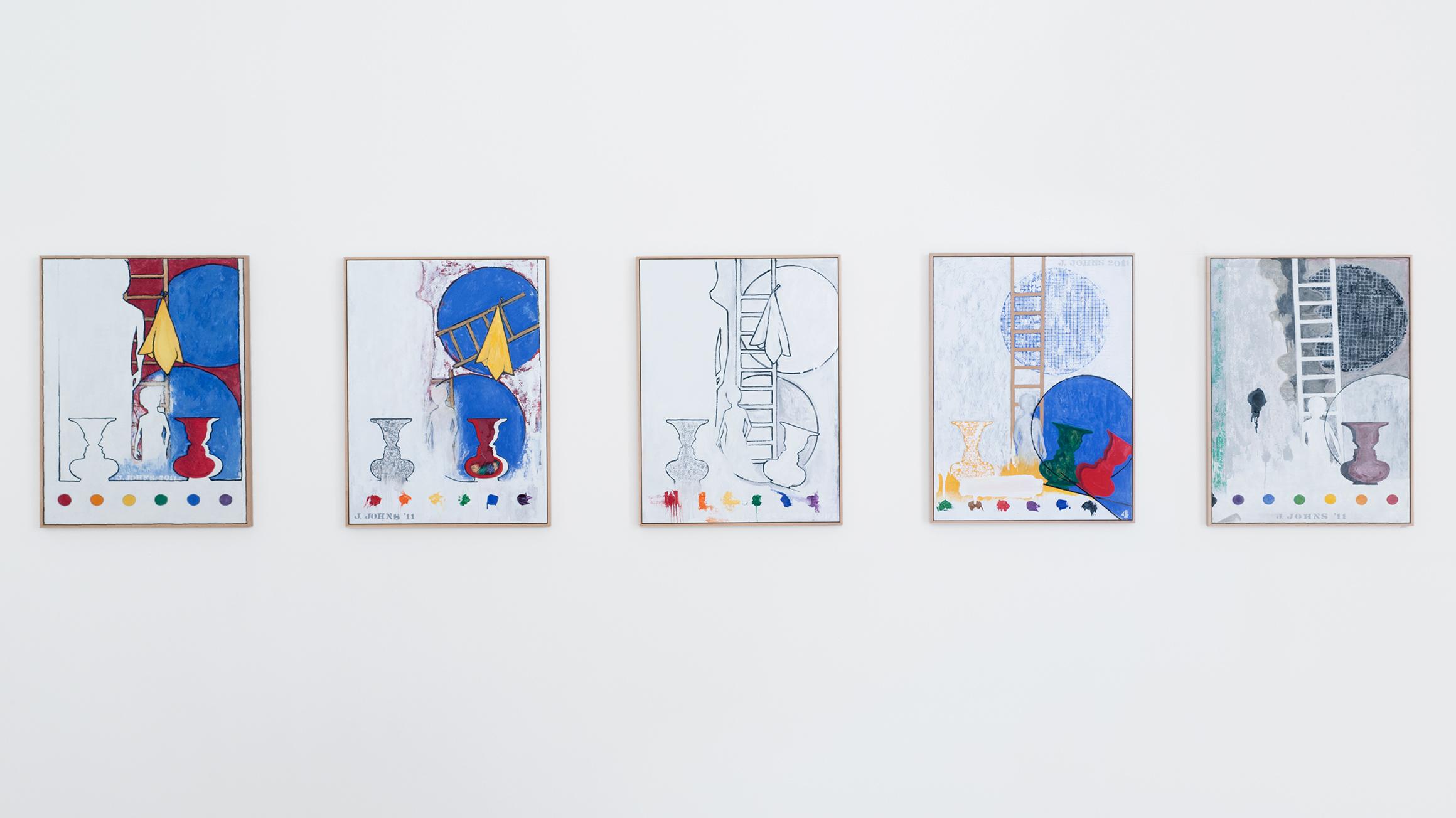 5 Postcards, 2011, by Jasper Johns (American, born 1930), SCC-97a--e. © Jasper Johns/Licensed by VAGA, New York, courtesy of Matthew Marks Gallery