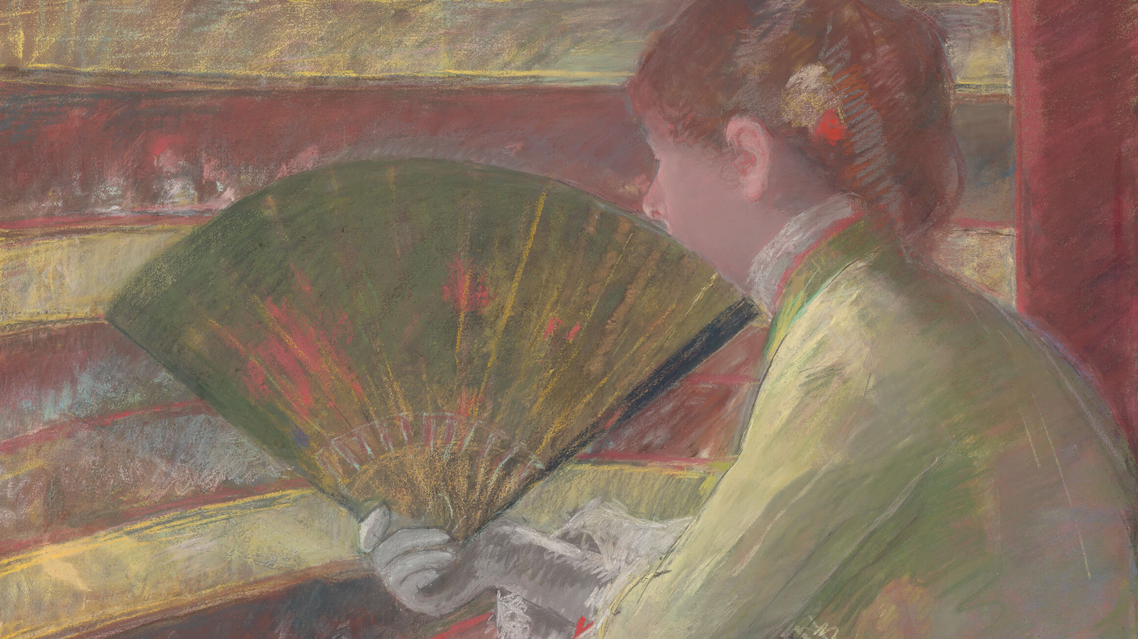 In the Loge (detail), c. 1879, by Mary Stevenson Cassatt (American, 1844–1926), 1950-52-1