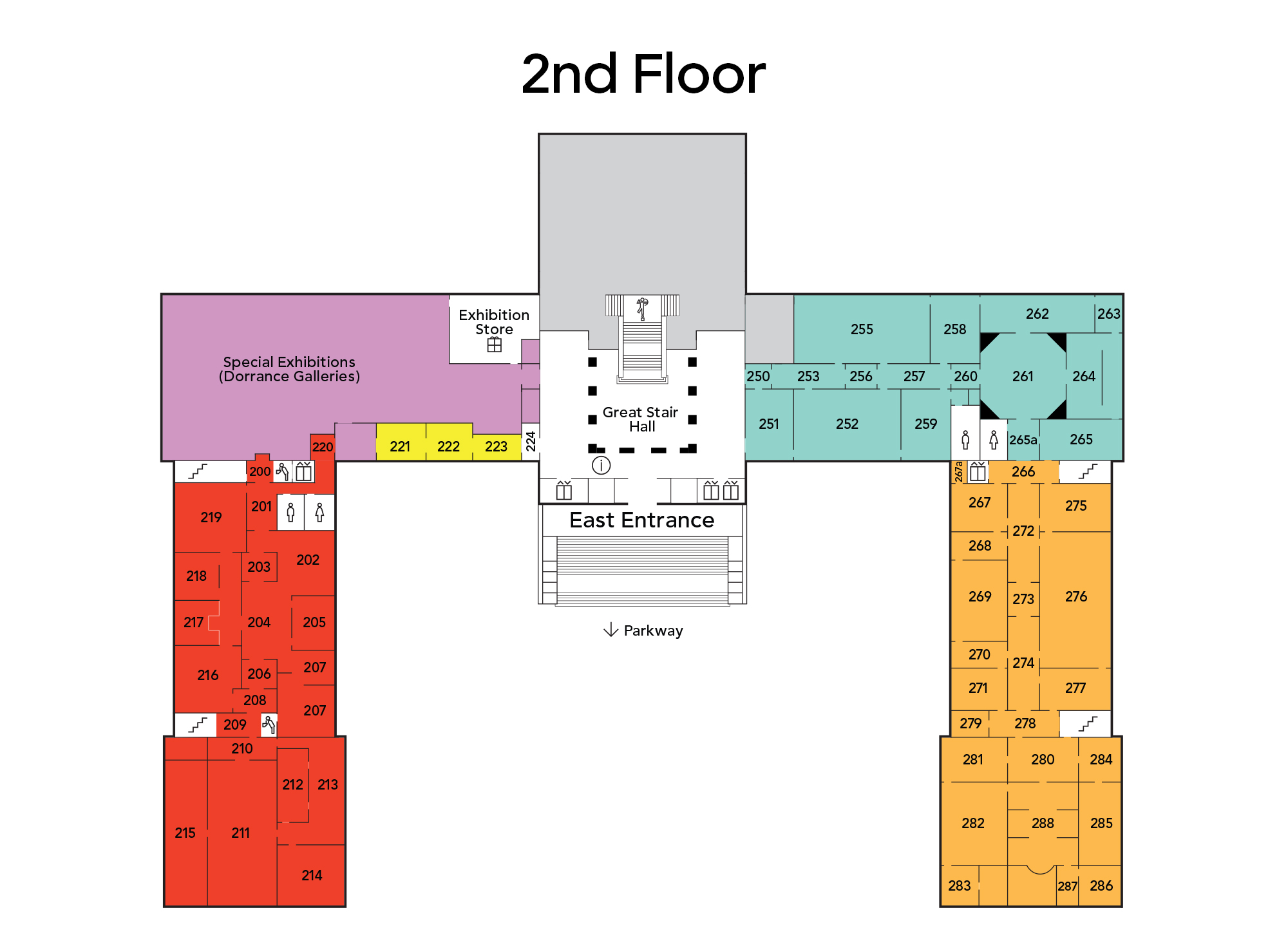 Map of main building second floor