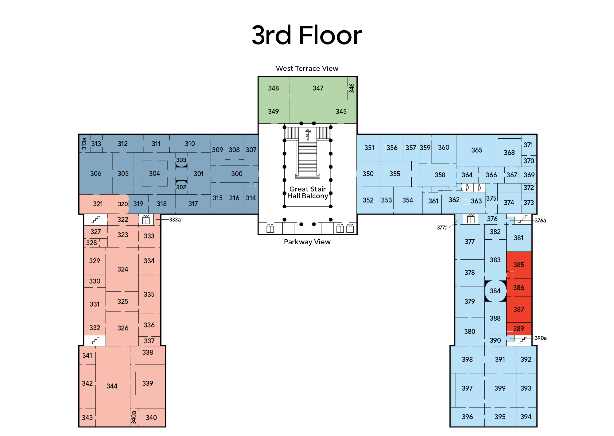 Map of main building third floor