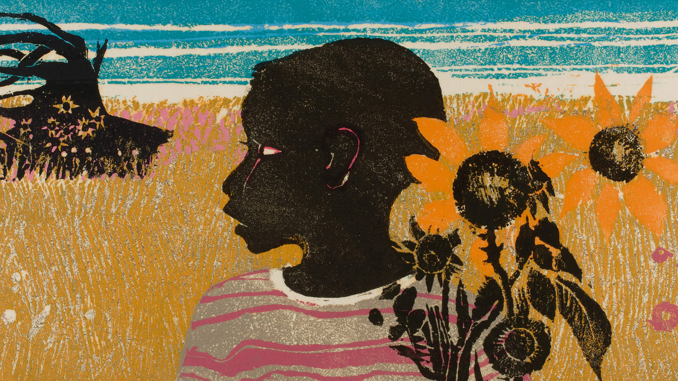 Boy with Sunflowers (detail), 1965, by Walter Henry Williams, Jr.
