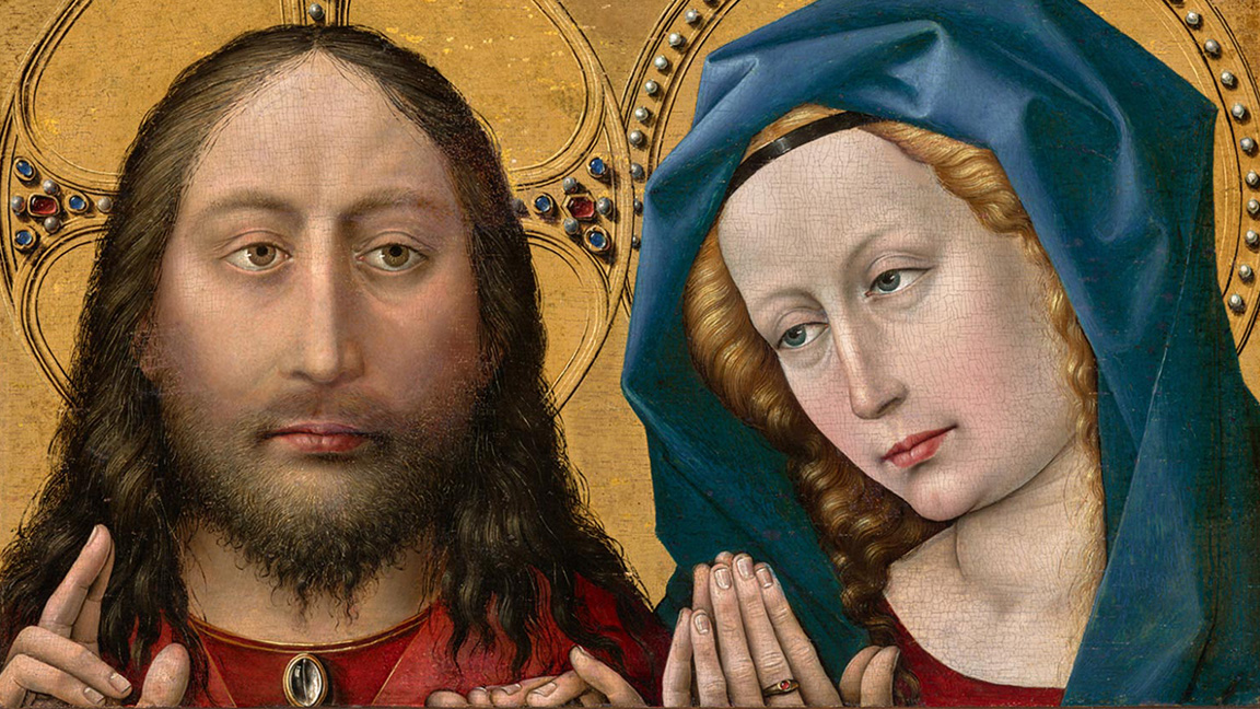 Christ and the Virgin (detail), c. 1427-32, by Robert Campin, Cat. 332