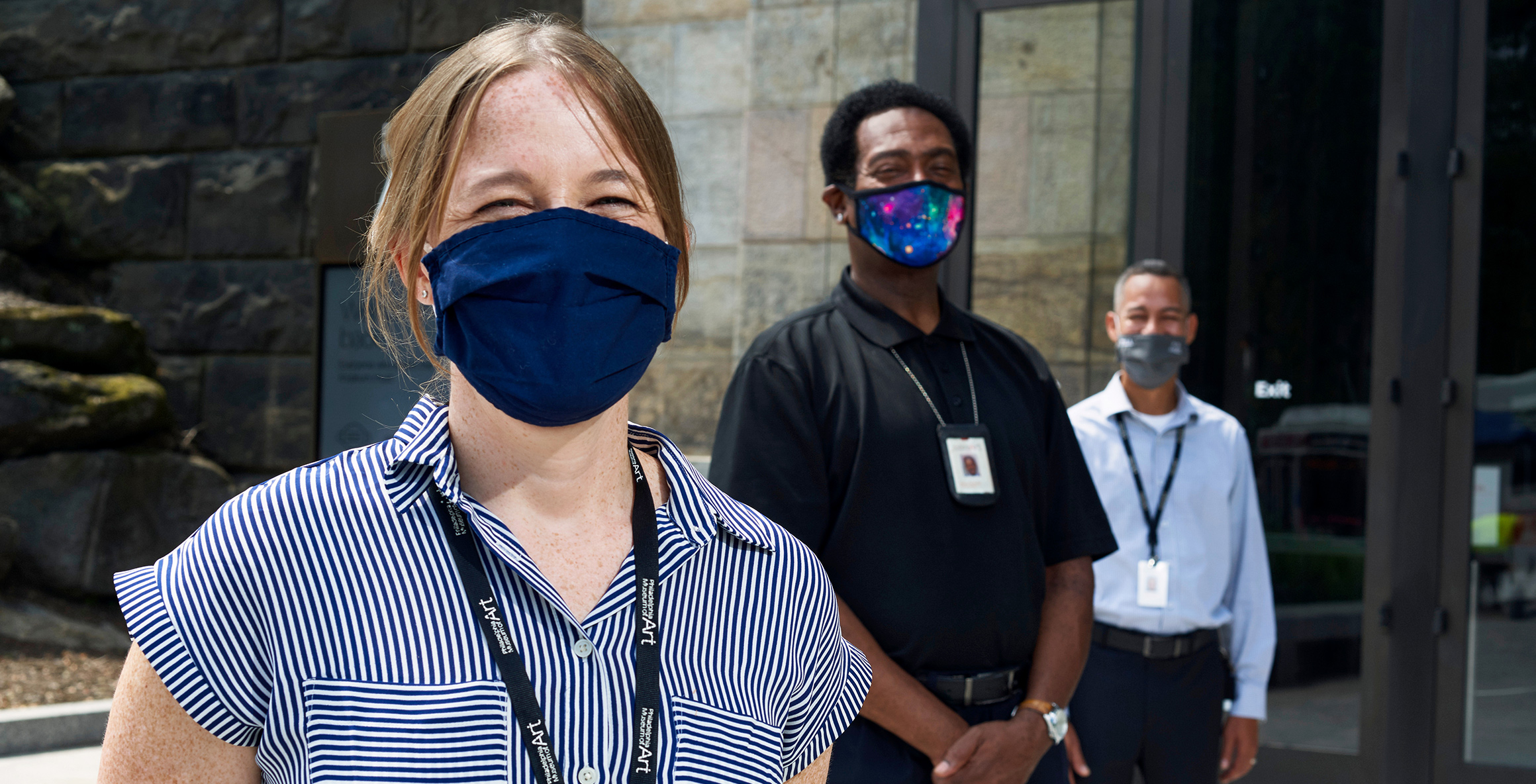 Friendly staffers in masks at the museum's North Entrance