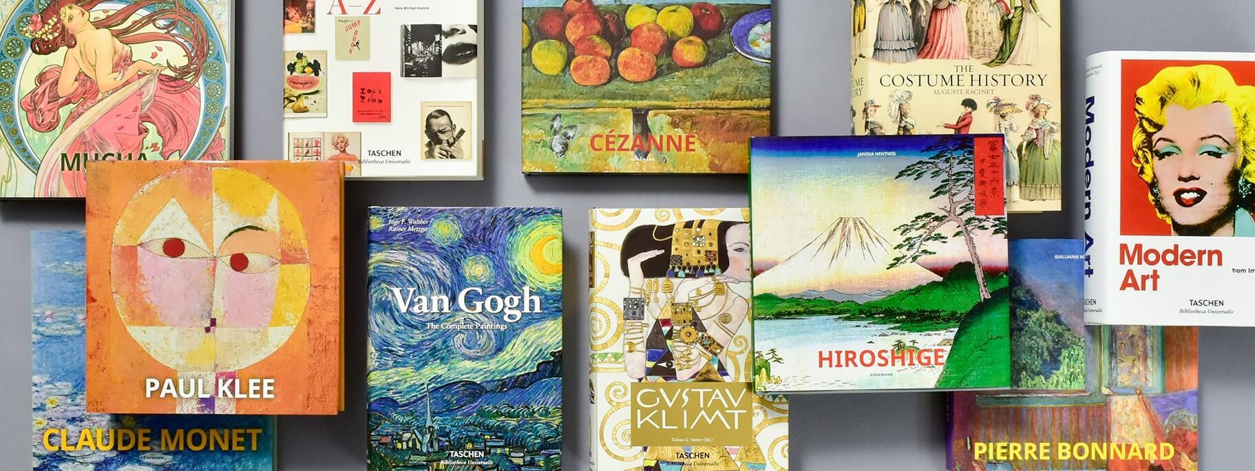 View of various art books available at the museum store