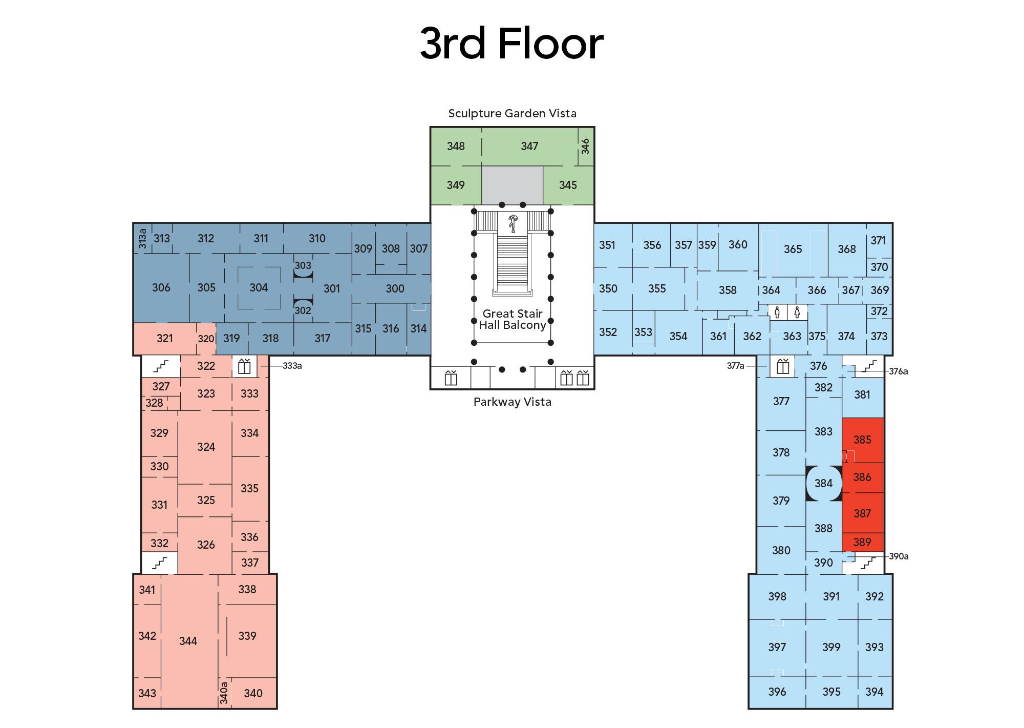 Map of main building third floor