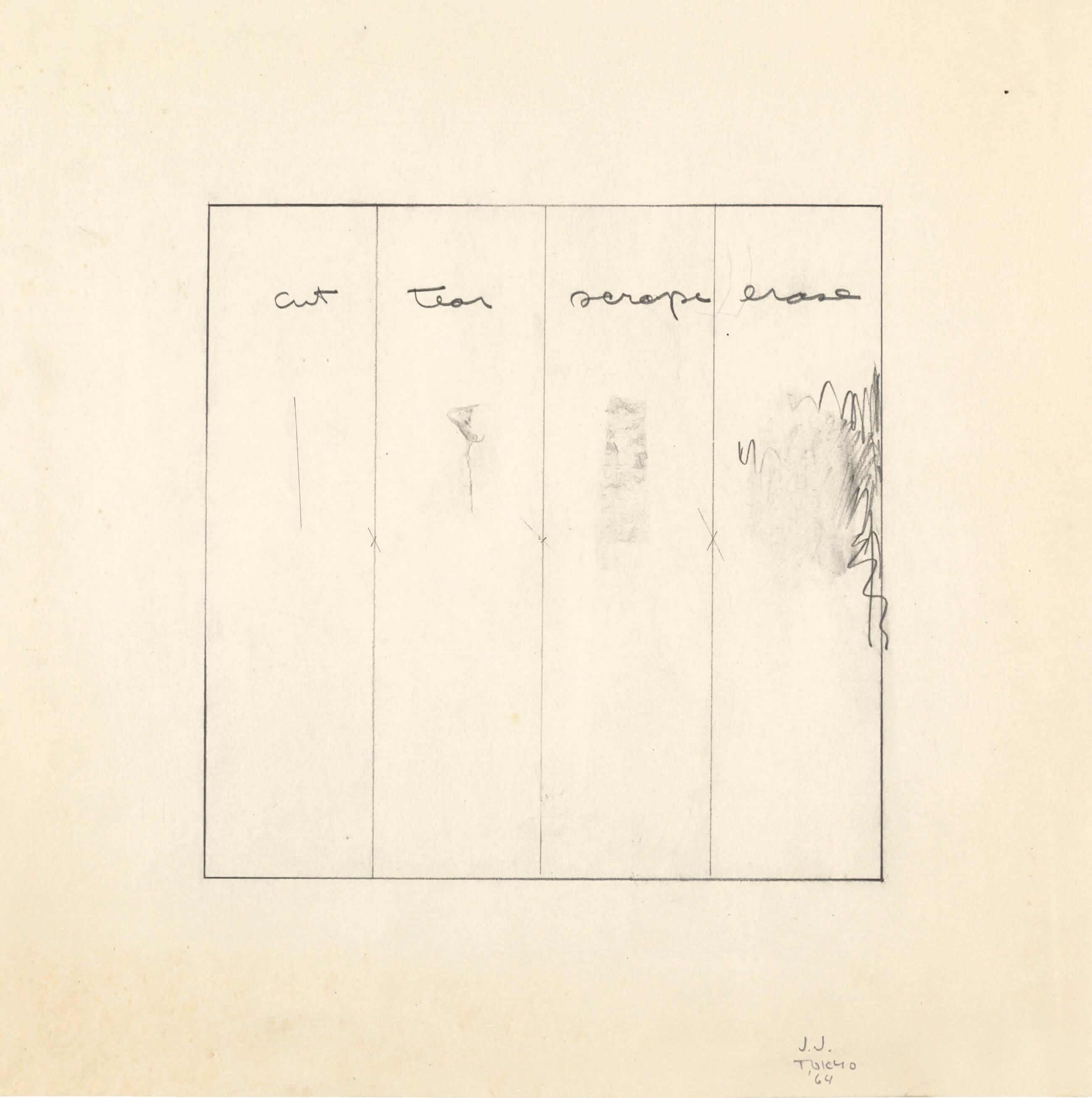 Untitled (Cut, Tear, Scrape, Erase), 1964, by Jasper Johns